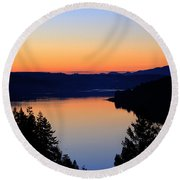 Sunset From The Deck Round Beach Towel