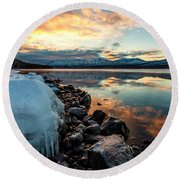 Sunset Frozen Round Beach Towel by Aaron Aldrich