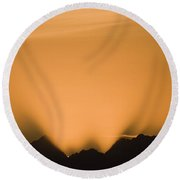 Sunset, Glacier Bay National Park Round Beach Towel
