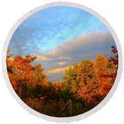 Round Beach Towel featuring the photograph Sunset Glow by Kathryn Meyer