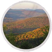 Sunset Glow Over The Autumn Landscape Round Beach Towel