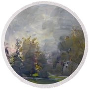 Sunset In A Foggy Fall Day Round Beach Towel