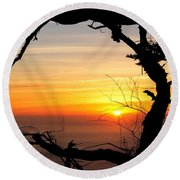 Sunset In A Tree Frame Round Beach Towel
