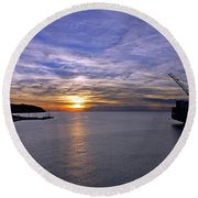 Sunset In Adriatic Round Beach Towel