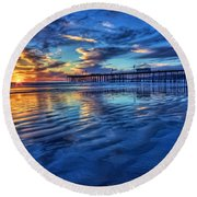 Sunset In Blue Round Beach Towel