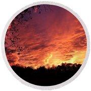 Sunset In Blue Ridge Foothills Round Beach Towel