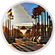 Sunset In Daytona Beach Round Beach Towel