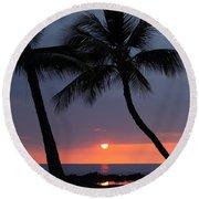 Sunset In Hawaii Round Beach Towel