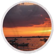 Round Beach Towel featuring the photograph Sunset In Manhasset Bay by Dora Sofia Caputo Photographic Art and Design
