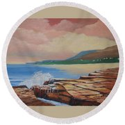 Sunset In New South Wales Round Beach Towel