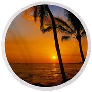 Sunset In Paradise Round Beach Towel by Athala Carole Bruckner