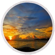 Sunset In Paradise - Beach Photography By Sharon Cummings Round Beach Towel