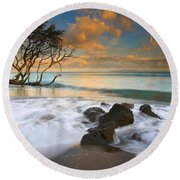 Sunset In Paradise Round Beach Towel by Mike  Dawson