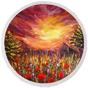 Sunset In Poppy Valley  Round Beach Towel