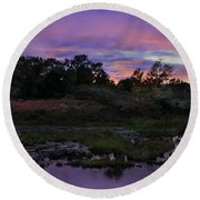 Sunset In Purple Along Highway 7 Round Beach Towel