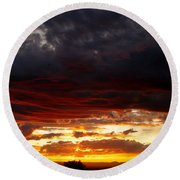 Sunset In Red Round Beach Towel