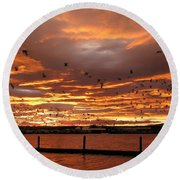 Sunset In Tauranga New Zealand Round Beach Towel