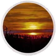 Round Beach Towel featuring the photograph Sunset In The Black Hills 2 by Cathy Anderson