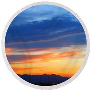 Sunset In The Black Mountains Round Beach Towel