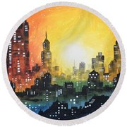 Sunset In The City Round Beach Towel by Amy Giacomelli