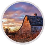 Sunset In The Country Round Beach Towel