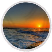 Sunset In The Cove Round Beach Towel