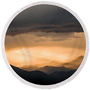 Sunset In The Mountains Round Beach Towel