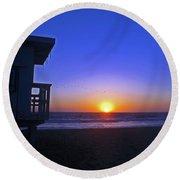 Sunset In Venice Round Beach Towel