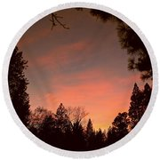 Sunset In Winter Round Beach Towel by Michele Myers