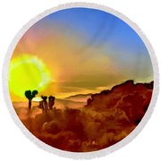 Sunset Joshua Tree National Park V2 Round Beach Towel
