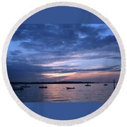 Round Beach Towel featuring the photograph Sunset by Karen Silvestri