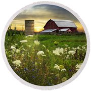 Sunset Lace Pastures Round Beach Towel