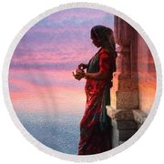 Sunset Lake Colorful Woman Rajasthani Udaipur India Round Beach Towel