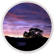 Round Beach Towel featuring the photograph Sunset Lake by Matt Harang