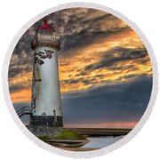 Sunset Lighthouse Round Beach Towel