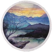 Sunset Montains Round Beach Towel