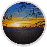 Round Beach Towel featuring the photograph Sunset Mountain To Mountain by Janie Johnson
