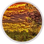 Sunset Navajo Tribal Park Canyon De Chelly Round Beach Towel by Bob and Nadine Johnston