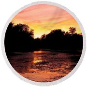 Round Beach Towel featuring the photograph Sunset Near Rosemere - Qc by Juergen Weiss
