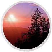 Sunset Off Mt Erie Washington Art Prints Round Beach Towel