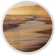 Sunset On A Beach Round Beach Towel