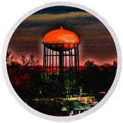 Sunset On A Charlotte Water Tower By Diana Sainz Round Beach Towel