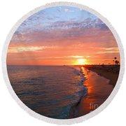 Sunset On Balboa Round Beach Towel