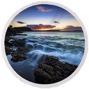 Round Beach Towel featuring the photograph Sunset On Ber Beach Galicia Spain by Pablo Avanzini