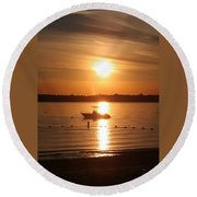 Round Beach Towel featuring the photograph Sunset On Boat by Karen Silvestri