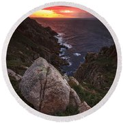 Round Beach Towel featuring the photograph Sunset On Cape Prior Galicia Spain by Pablo Avanzini