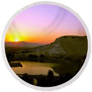 Round Beach Towel featuring the photograph Sunset On Cotton Castles by Zafer Gurel