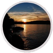 Round Beach Towel featuring the photograph Sunset On Halfmoon by Mim White