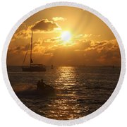 Round Beach Towel featuring the photograph Sunset Over Key West by Christiane Schulze Art And Photography