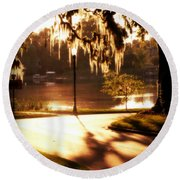 Sunset On Lake Mizell Round Beach Towel by Valerie Reeves